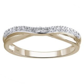 14K Yellow Gold 1/4cttw Round Diamond Contour Ring - White
