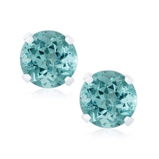 Sterling silver Choice of Natural Gemstone Stud Earrings - Blue (Option: Solitaire)