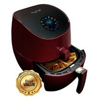 MegaChef 3.5 Quart Airfryer And Multicooker With 7 Pre-programmed Settings in Burgundy