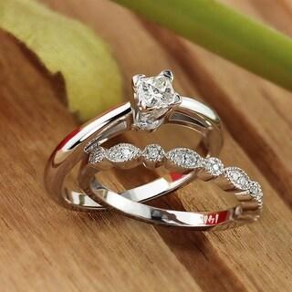 Auriya 14k Gold 1/2ctw Vintage Princess-cut Solitaire Diamond Engagement Ring Set