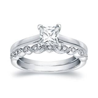 Auriya 14k Gold 3/4cttw Vintage Princess-cut Solitaire Diamond Engagement Ring Set