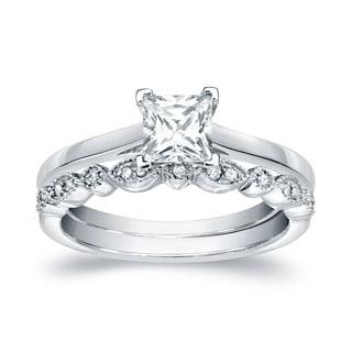 Auriya 14k Gold 3/4ct TDW Certified Princess-Cut Diamond Engagement Wedding Ring Set