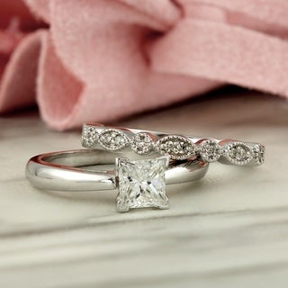 14k Gold Vintage Stackable 1 1/6ct TDW Solitaire Princess-Cut Diamond Engagement Ring Set by Auriya