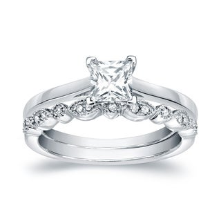 14k Gold 5/8ct TDW Vintage Stackable Princess-Cut Solitaire Diamond Engagement Ring Set by Auriya