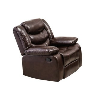 Drake Faux Leather Brown Glider Recliner