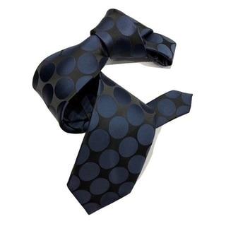 Dmitry Men's Black/Navy Polka Dot Patterned Italian Silk Tie