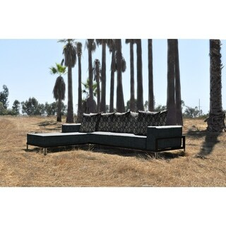 SOLIS Nubis Sectional Outdoor Deep Seated 2-piece Patio Set - Black Frame, Cavern Cushions, and Sioux Pattern Toss Pillows