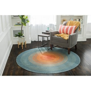 Jani Sunburst Round Braided Jute Multicolor Rug - 4'