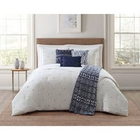 Jennifer Adams Solid Embroidered 7 Piece Comforter Sets with Plush Throw
