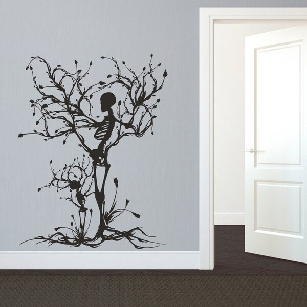 Shop gothic wall decal halloween decor skeleton art - Wall sticker ideas for living room ...