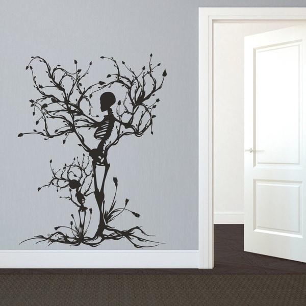Gothic Wall Decal Halloween Decor Skeleton Art Sticker Tree Wall Art For  Living Room Wall Vinyl