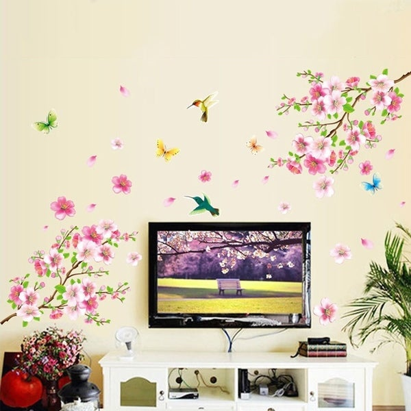 Cherry Blossom Tree Wall Sticker Vinyl Art Mural Diy Decals W Flower Erfly On Free Shipping Orders Over 45