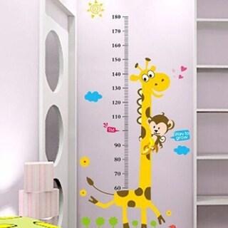 Kids Room Cartoon Giraffe Monkey Height Chart Decor Vinyl Wall Decals Wall Vinyl