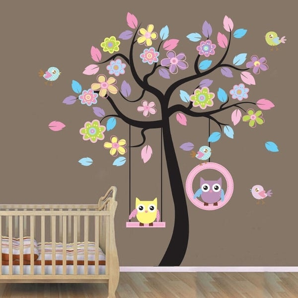 Animals Tree Owl Removable Wall Decal Sticker Kid Baby Nursery Room Vinyl