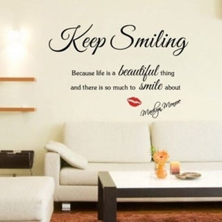 Black Keep Smiling DIY Quote Vinyl Art Wall Sticker Removable Room Decals Wall Vinyl