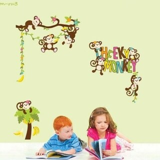 Removable Wall Stickers Cartoon Animal Cheeky Monkey Home decor Decals Wall Vinyl