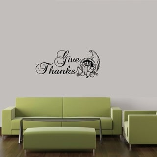 Give Thanks Thanks Giving Fall Wall Quote Decal Sticker Vinyl Home Sticker Wall Vinyl