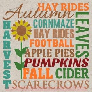 Fall Autumn Harvest Vinyl Decals Subway Art Printed Wall Sticker Quote Decor Wall Vinyl