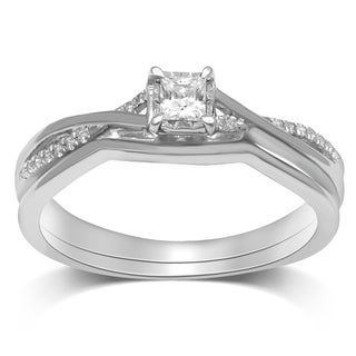 Unending Love 14k Gold 1/6ct TDW Princess-cut Halo Ring Set (IJ I2-I3)
