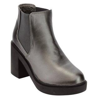 Beston Women's High Top Block Heel Chelsea Booties Half Size Small