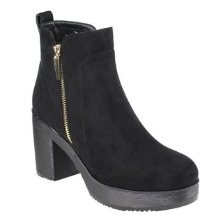 Beston EJ63 Women's Platform Side Zipper Ankle High Top Stacked Heel Booties