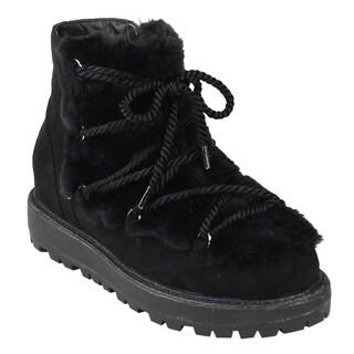 Beston FM21 Women's Strappy Ankle High Side Zipper Lug Sole Winter Snow Booties