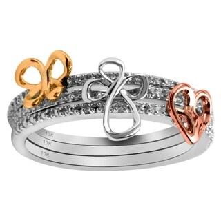 10K White,Yellow and Rose Gold 1/10cttw Jessica Simpson Stackable Ring - White