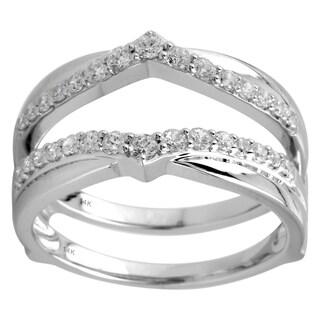 14K White Gold 1/2cttw Round Diamond Guard Ring