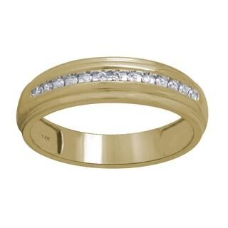 14K Yellow Gold 1/10cttw Diamond Men's Wedding Ring - White