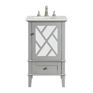 Elegant Lighting Grey Wood 21-inch Single Bathroom Vanity Set with White Marble Top and White Porcelain Sink