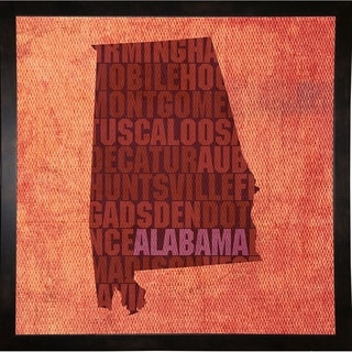 "Alabama State Words Framed Print 11.75""x11.75"" by David Bowman"