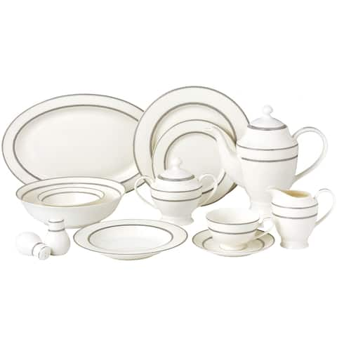 57 Piece Dinnerware Set-New Bone China Service for 8 People-Arianna