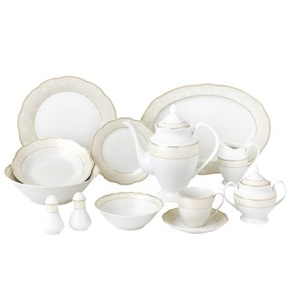 57 Piece Wavy Dinnerware Set-Porcelain China Service for 8 People-Tova