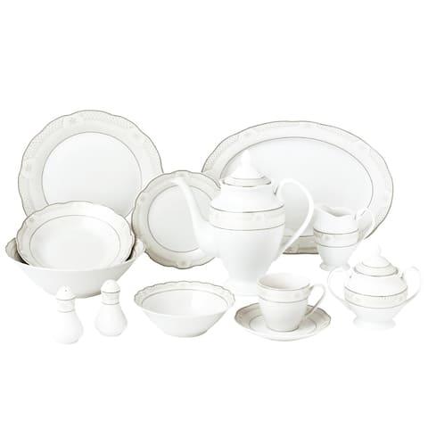 57 Piece Wavy Dinnerware Set-Porcelain China Service for 8 People-Atara