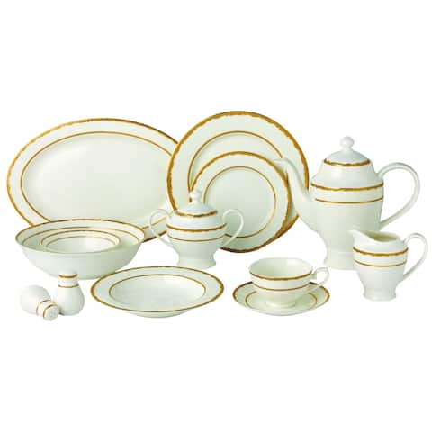 57 Piece Dinnerware Set-New Bone China Service for 8 People-Sonia