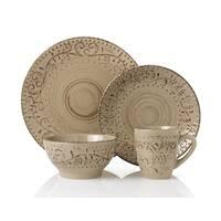 16 Piece Round Stoneware Dinnerware Set Distressed -Mocca