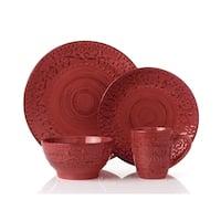 16 Piece Round Stoneware Dinnerware Set Distressed-Red-Crimson