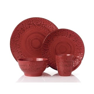 16 Piece Round Stoneware Dinnerware Set Distressed-Red-Crimson