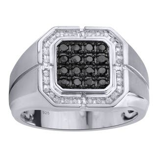 Sterling Silver 1/2cttw Black Diamond Men's Ring - White|https://ak1.ostkcdn.com/images/products/17999658/P24171062.jpg?impolicy=medium