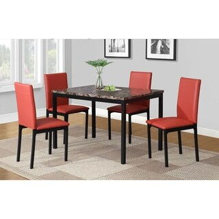 5 Piece Citico Metal Dinette Set with Laminated Faux Marble Top (3 options available)