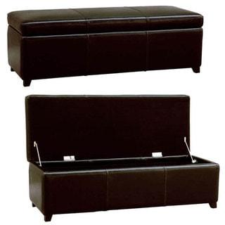 Darcy Espresso Bi-cast Leather Storage Bench