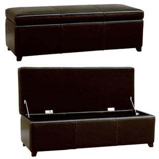 Darcy Espresso Bi-cast Leather Storage Bench
