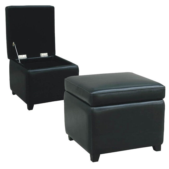 Shop Barcy Black Bi Cast Leather Storage Cube Ottoman