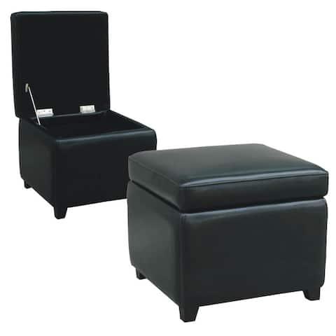Barcy Black Bi-cast Leather Storage Cube Ottoman