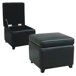 Delicieux Barcy Black Bi Cast Leather Storage Cube Ottoman