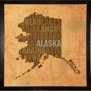 "Alaska State Words Framed Print 11.75""x11.75"" by David Bowman"