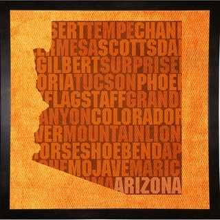 "Arizona State Words Framed Print 11.75""x11.75"" by David Bowman"