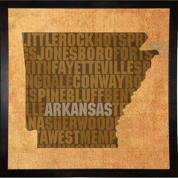 "Arkansas State Words Framed Print 11.75""x11.75"" by David Bowman"