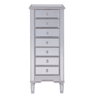 "Lingerie Chest 7 drawers 20""W x 15""D x 48""H in antique silver paint"