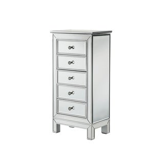 Silver Wooden 5-drawer Jewelry Armoire